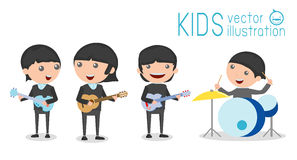 Vector illustration of four kids in a music band, Children playing Musical Instruments Stock Photos