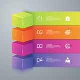 Vector illustration of four options infographics 3d cube.  royalty free illustration