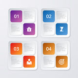 Vector illustration of four square infographics Royalty Free Stock Photos