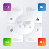 Vector illustration of four square infographics Stock Photos