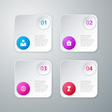 Vector illustration of four square infographics Stock Image