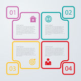 Vector illustration of four squares linear infographics. Stock Photo