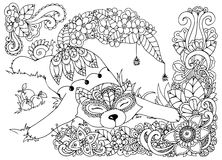 Vector illustration , Fox, in the flowers. Doodle drawing mushrooms. Coloring book anti stress for adults. Black white. Stock Images