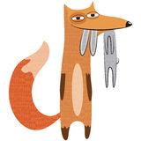 Vector illustration of a fox with a hare. Royalty Free Stock Image
