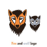 Vector illustration of a fox and wolf. Cute and fun cartoon character can be used for logo, print, icon, t-shirt design, etc. Stock Image