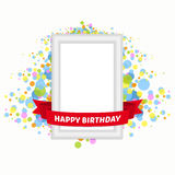 Vector illustration frame birthday. Vector template vintage frame for the birthday greetings. Festive frame with ribbon on a beautiful background Stock Images