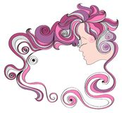 vector illustration frame with curly hair and a woman's face on a white background Royalty Free Stock Images