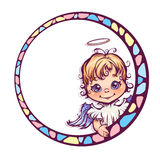 Vector illustration of frame with cute angel royalty free illustration