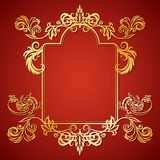 Vector illustration frame with floral ornament and gargoyles Royalty Free Stock Photography