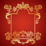 Vector illustration frame with floral ornament and gargoyles Stock Photo
