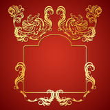 Vector illustration frame with floral ornament and gargoyles Royalty Free Stock Image