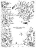 Vector illustration frame with flowers zen tangl tree. Dudlart.  Stock Image