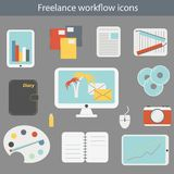 Vector illustration with freelance workflow icons Royalty Free Stock Image