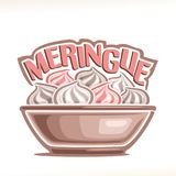 Vector illustration of french dessert Meringue stock illustration