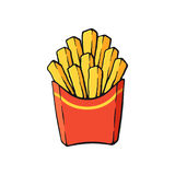 Cartoon with contour of French fries in a paper red pack. Vector illustration. French fries in a paper red pack. Fried potatoes. Image in cartoon style with Stock Photo
