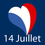 Vector illustration of french text phrase `14 Juillet` with big heart shaped french flag. As dot on the i on dark blue background, square format Vector Illustration