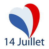 Vector illustration of french text phrase `14 Juillet` with big heart shaped french flag. As dot on the i on white background, square format Royalty Free Illustration