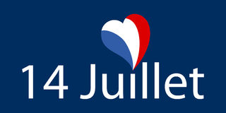 Vector illustration of french text phrase `14 Juillet` with heart shaped french flag. As dot on the i on dark blue background, landscape format Stock Illustration