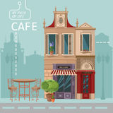 Vector illustration of French village street scene with cafe Stock Image