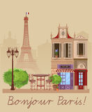 Vector illustration of French village street scene with cafe Royalty Free Stock Photo