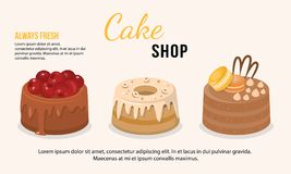 Vector illustration of fresh cakes set stock photography