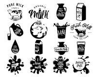 Vector illustration of fresh dairy milk logos, stamps for milky natural product. Vector illustration of fresh dairy milk logos, emblems, stamps with cow, drop Stock Image