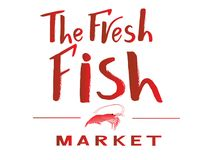 Vector illustration The fresh fish market red color with illustration of shrimp. Vector lettering of text The fresh fish market on watercolor spot. Modern Royalty Free Stock Images