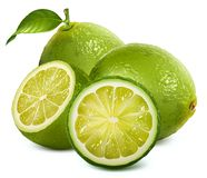 Fresh limes with leaves Royalty Free Stock Image