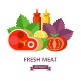 Vector illustration. Fresh meat, still life. Meat, sauces and greens. Fresh meat. Big beef steak, lemon, Basil leaves, tomato, ketchup and mustard. Vector Royalty Free Stock Image