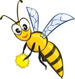 Vector Illustration of a Friendly Cute Bee Flying and Smiling vector illustration