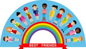Vector illustration of friends kids on the multicolor rainbow Stock Photography
