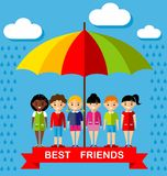 Vector illustration of friends kids under multicolor umbrella Stock Image