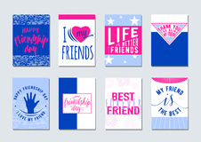 Vector illustration of Friendship day typography background set in flat style. Inspirational motto quote about friend Royalty Free Stock Image