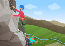 Vector illustration of frome above two men with professional equipment climbing on big rock. Royalty Free Stock Images