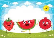 Vector Illustration of Fruit Characters Royalty Free Stock Images