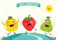 Vector Illustration of Fruit Characters Royalty Free Stock Photos