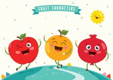 Vector Illustration of Fruit Characters Royalty Free Stock Photography
