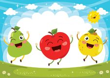 Vector Illustration of Fruit Characters Royalty Free Stock Photo