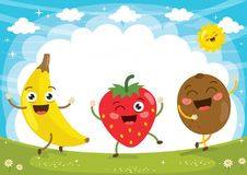 Vector Illustration of Fruit Characters Royalty Free Stock Image