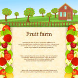 Vector illustration of a fruit farm. Juicy apple fruit border. House, fence, fruit, trees, background with paper texture for menu design, juice packaging Stock Photos