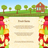 Vector illustration of a fruit farm. Juicy apple pear fruit border. Royalty Free Stock Image