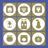 Vector illustration of fruit, honey, canned food and jam icons. royalty free illustration