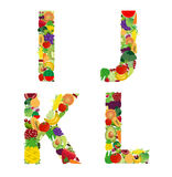 Vector illustration fruit and vegetable alphabet letter Stock Photos