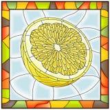 Vector illustration of fruit yellow lemon. Vector illustration of fruit half of yellow lemon stained glass window with frame vector illustration