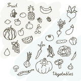 Vector illustration of fruits and vegetables collection in black and white Royalty Free Stock Photos