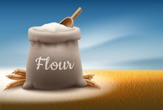 Vector illustration of full bag of white flour with shovel and ears of wheat on landscape background with sky royalty free illustration