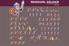 Medieval Soldier Game Character Animation Sprite. Vector Illustration of Fun and Cute Medieval Soldier Game Character Animation Sprite Frames Stock Images