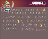 Saracen Game Character Animation Sprite. Vector Illustration of Fun and Cute Saracen Game Character Animation Sprite Frames Royalty Free Stock Photos