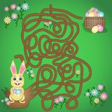 Vector illustration is a fun maze game for kids. Help the Easter Bunny find his basket. royalty free illustration