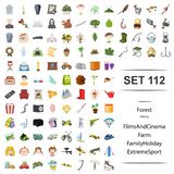 Vector illustration of funeral, ceremony, forest, fishing, film, cinema, farm family holiday extreme sport icon set. Vector illustration of funeral, ceremony vector illustration